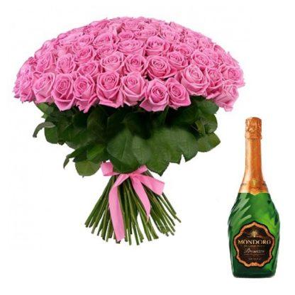 101 роза + подарок