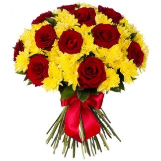 11 хризантем +15 роз