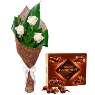 3 розы + подарок